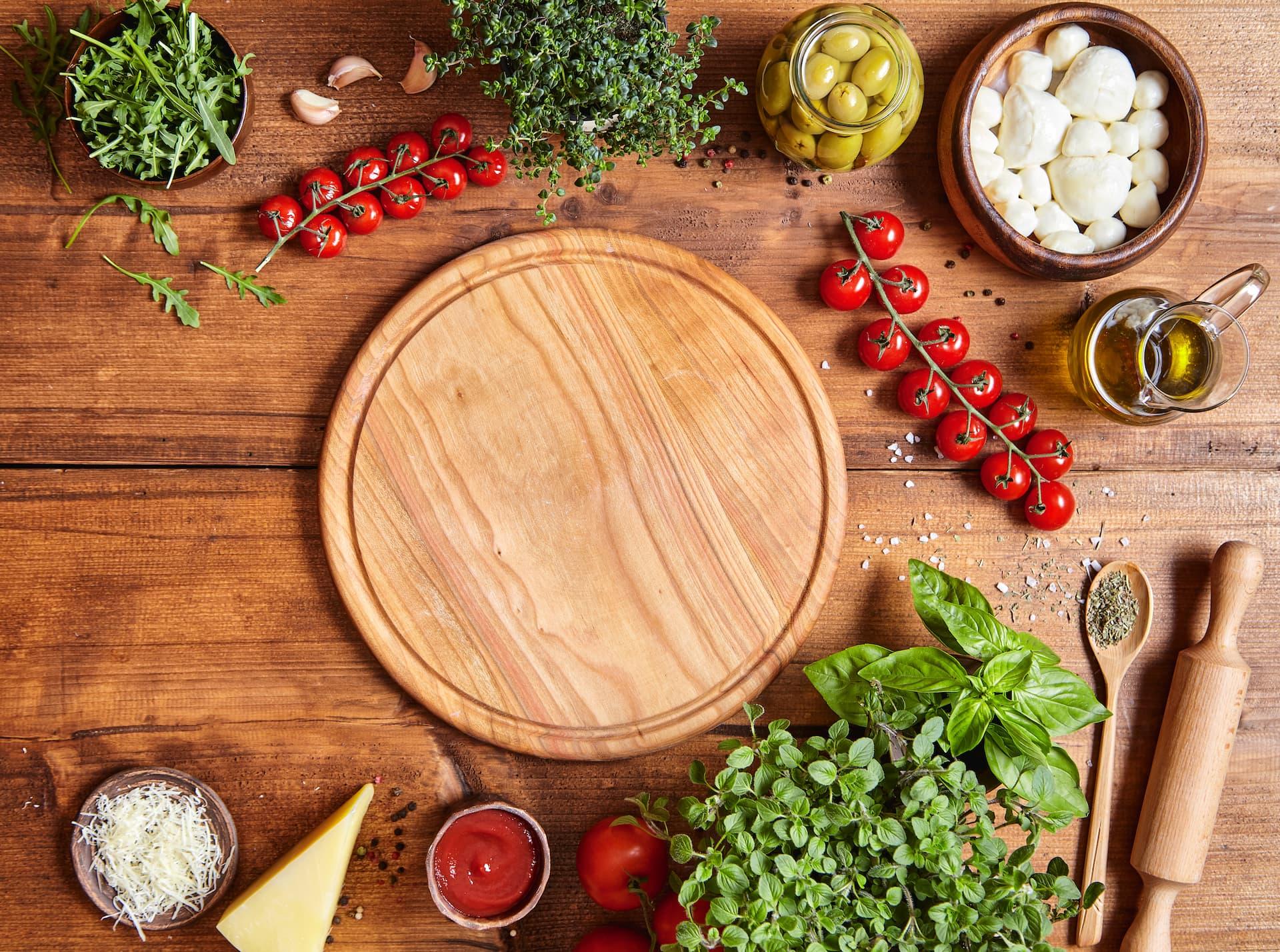 ingredientes mediterraneos pizza